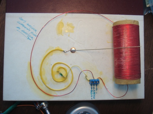 Cat's Whisker Crystal Radio attached to a book cover
