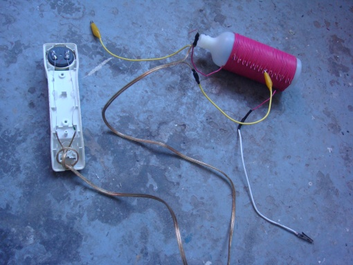 Crystal Radio (built by Kathy) using germanium diode and telephone receiver