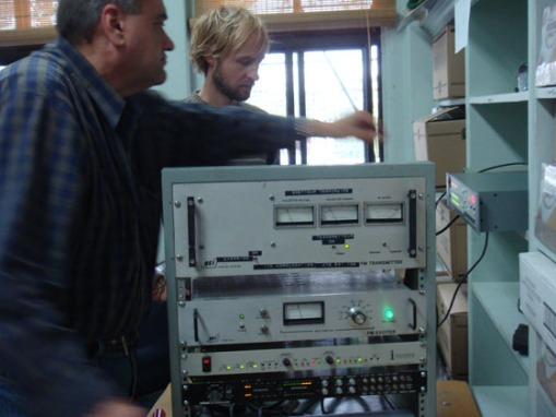 Mike and Matt adjusting the frequency to 106.7FM